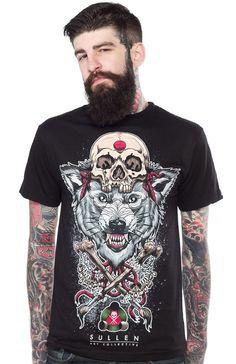 SULLEN WOLF BADGE T SHIRT $25.00 #sullen #guys #wolf #tattoo