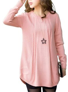 Women's Long Sleeve Round Collar Knit Long Sweater Fashion Plus Size Pullover on buytrends.com
