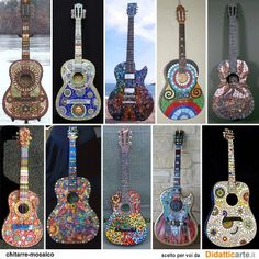 see Crooked Moon Mosaics - decorated guitars