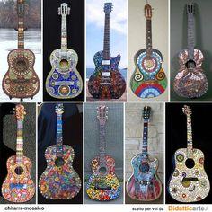 see Crooked Moon Mosaics - decorated guitars