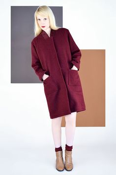 Manteau THOMAS Laine Bouillie Bordeaux