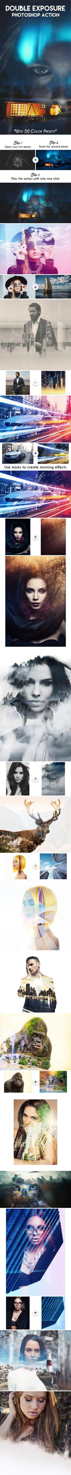 Double Exposure Photoshop Action  #elegance #fade #duotone #digital • Download ➝ https://graphicriver.net/item/double-exposure-photoshop-action/17424700?ref=rabosch