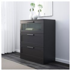 IKEA - BRIMNES, chest, black, frosted glass, Of course your home should be a safe place for the entire family. That's why hardware is included so that you can attach the chest of drawers to the wall. Smooth running drawers with pull-out stop. Three Drawer Dresser, Long Dresser, 3 Drawer Chest, Dresser Drawers, Chest Of Drawers, Ikea Storage, Locker Storage, Storage Ideas, Ikea Us