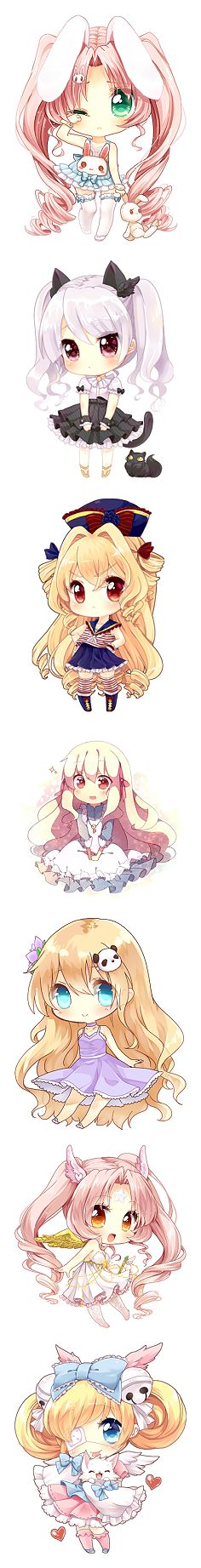 cute little chibi animal girls
