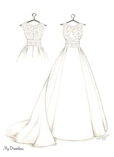 Dreamlines Wedding Dress Sketch and Back Of Gown 1