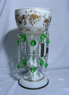 VTG Mantel Luster Green Crystal Prisms Bristol Glass Hand Painted Grapes