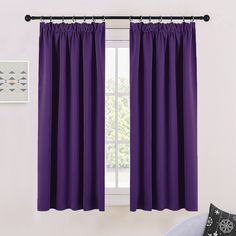 "Thermal Insulated Pencil Pleat Curtains - PONYDANCE Window Treatment Thermal Pleat Top Tape Blackout Curtains for Living Room & Bedroom, Double panels, W 46"" by L 54"", Royal Purple"