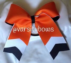 Trio Layer Orange White Black Softball/Cheer Bow - #191929306