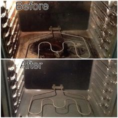 SET the baking soda on the bottom of the oven. Spray the baking soda with water…