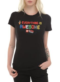 "Fitted black tee from The LEGO Movie with ""Everything Is Awesome"" text design on front."