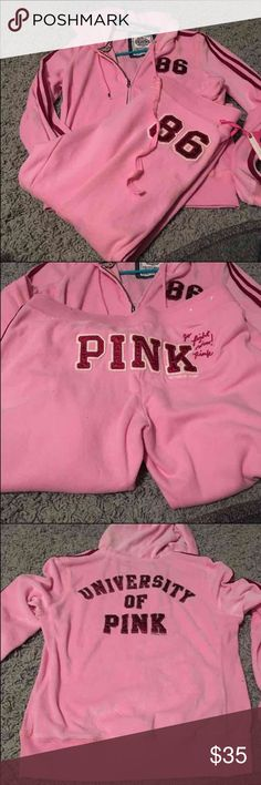 Pink outfit University of pink outfit. The signature fit pants and matching zip up PINK Victoria's Secret Jackets & Coats