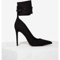 Nasty Gal Queen Wrap Heel ($98) ❤ liked on Polyvore featuring shoes, pumps, heels, black, heels stilettos, black pointed-toe pumps, high heel pumps, black pumps and black heel pumps