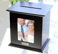 Black Reception Card Holder Photo Box #theweddingoutlet