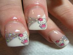 Cute and Girly Hello Kitty Nail Art | See more at http://www.nailsss.com/colorful-nail-designs/2/