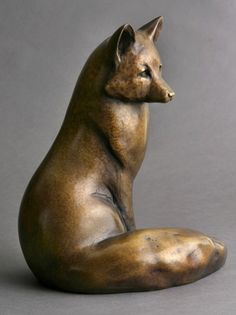 "Sitting Fox ~ sculptor Georgia Berber, c.2009; bronze, 12""H x 9""W x 7""D  #art #sculpture #fox"