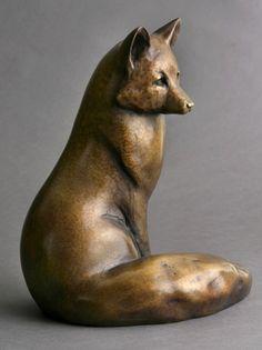 Sitting Fox- Bronze Sculpture by Georgia Gerber - www.georgiagerber.com #bronzesculpture #whidbeyisland #georgiagerbersculpture