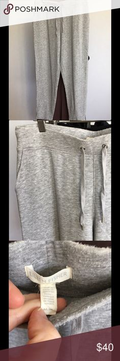 """Eileen Fisher Tencel Fleece Joggers/Lounge Pant Pre-loved condition. Most signs of wear are pilling on inner thigh area, and a little along the waistband. Nothing too serious! Lots of life left. Elasticized, drawstring waist, side slant pockets. Super soft. Year round wear. From the made exclusively for Neiman Marcus EF """"Spa Collection"""". 83 Tencel/17 Nylon. These will best fit sizes 8-12. Price reflects wear. No trades. Eileen Fisher Pants Track Pants & Joggers"""