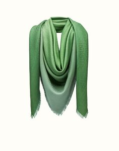 FENDI SIGNATURE SHAWL - Shawl in green silk and wool