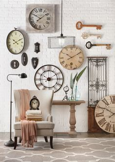 Tick, tock. It's time for a new clock. Whether it's one or five, a beautiful clock can act like a work of art on the wall.