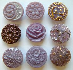 9 Stunning Vintage Purple Glass Buttons, Rose & Other Floral Designs