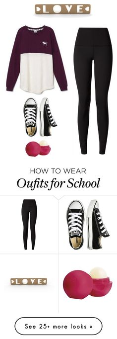 """""""Basic"""" by plutonix on Polyvore featuring Victoria's Secret, lululemon, Converse and Eos"""