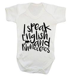 I speak English and Rhino baby vest bodysuit babygrow