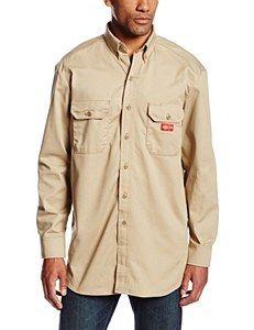 daac84683d Dickies FR Long Sleeve Twill Button-Down Shirt