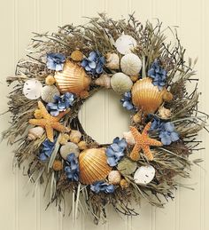 #Seashell Wreath that's easy to recreate with a plain wreath, seashells and a glue gun. The possibilities are endless..............