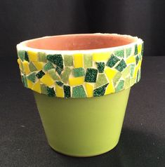 Mosaic Flower Pot 4 Green and Yellow Little mosaic flower pot… - Modern Mosaic Planters, Mosaic Garden Art, Mosaic Flower Pots, Flower Pot Art, Flower Pot Crafts, Clay Pot Crafts, My Flower, Flower Pot Design, Painted Plant Pots