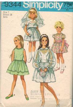 9344-UNCUT-Vintage-Simplicity-Sewing-Pattern-Girls-Party-Church-Dress-Back-Zip-7