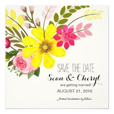 Shop Folklore Flower Garden Save the Date created by glamprettyweddings. Yellow Wedding Invitations, Mason Jar Wedding Invitations, Save The Date Invitations, Watercolor Wedding Invitations, Save The Date Cards, Simple Wedding Cards, Floral Wedding Save The Dates, Wedding Ideas, Invitation Paper