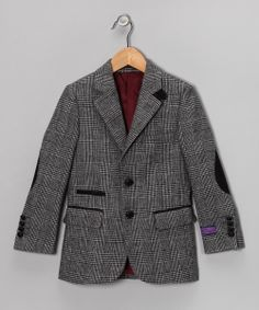 Take a look at this Gray & Black Plaid Wool-Blend Elbow Patch Blazer - Boys on zulily today!