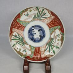 A956: Japanese OLD IMARI colored porcelain ware plate with good painting .OSELLAME's Collection