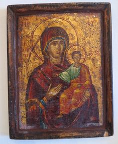 Antique Greek Icon depicting the Holy Virgin holding the Christ Child, 19th century