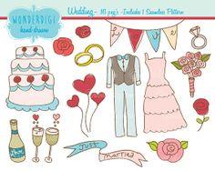 Wedding Clip Art - Hand drawn Clip Art - Wedding Set - INSTANT DOWNLOAD - Digital Scrapbooking