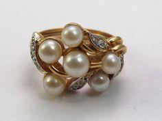 Vintage Avon pearl and rhinestone cluster by tendollarjewelry1
