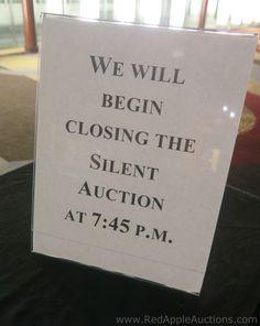 Silent auction signage. #SilentAuctionCheckout