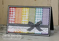 Gingham and Polka Dots: Monday, March 21st .... great way to use scraps, and a card that could be altered to fit any occassion