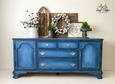 Buffet Painted in Annie Sloan Napoleonic, Greek Blue, Giverny, Louis Blue and Graphite. Blended technique. Clear waxed to seal.