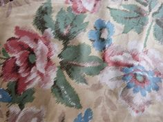 Antique French fabric w roses decor romantic floral design satin fabric, vintage French sewing fabric patchwork upholstery supply by MyFrenchAntiqueShop on Etsy