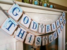 God Bless This Child Double Garland Banner / Baby Shower / Baptism / Christening / First Communion / Custom Colors Welcome. $26.00, via Etsy.