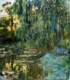 Claude Monet - Weeping Willows, The Waterlily Pond at Giverny