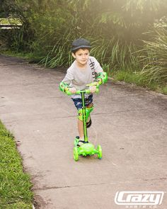 Joey Glo Scooters + ProteXion Safety Tri-Pack including Knee, Wrist & Elbow Guards  #crazyskateco #crazyskates #scooter #giftideas #green