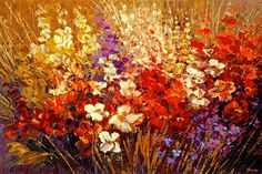 Flower Painting Palette Knife Original Art Handmade by TatianasART