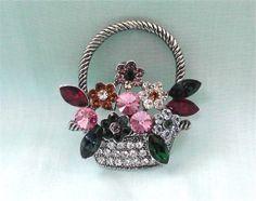 Vintage Flower Basket Brooch.