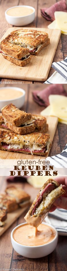 These Gluten Free Reuben Sandwich Dippers are my twist on the classic Reuben sandwich. Made with gluten free rye-style bread, pastrami, swiss cheese, sauerkraut, mustard and served with Thousand Island to dip. The perfect appetizer to share or hearty lunch!