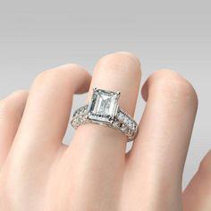 Emerald Cut Women's White Engagement Ring/Wedding Ring