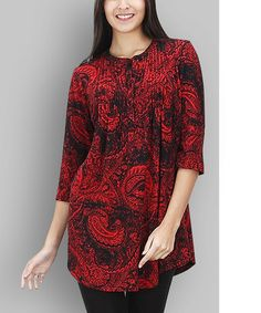 Love this Red & Black Paisley Notch Neck Tunic on #zulily! #zulilyfinds
