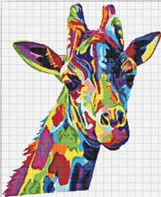 Buy 1 and Get 1 Free Coupon Giraffe Multicolored Fractal Modern Cross Stitch Pattern Counted Cross Stitch Chart Pdf Modern Cross Stitch Patterns, Counted Cross Stitch Patterns, Cross Stitch Designs, Cross Stitch Embroidery, Colorful Animal Paintings, Colorful Animals, Pixel Art, Alice In Wonderland Cross Stitch, Cross Stitch Boards
