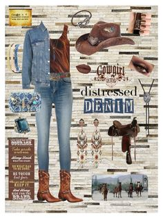 """Cowgirl  Distressed Denim"" by pinky-dee ❤ liked on Polyvore featuring Pier 1 Imports, Maison Margiela, Muk Luks, Yves Saint Laurent, Charlotte Russe, Melissa Joy Manning, Apt. 9, M&F Western, Topshop and Durango"